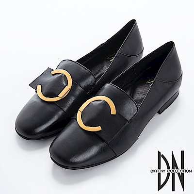 DN 帥氣英倫 復古質感皮革飾釦鞋-黑