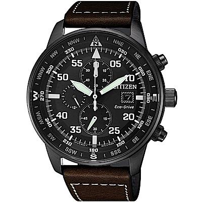 CITIZEN星辰 光動能 飛行旅程 三眼計時手錶(CA0695-17E)-黑/44mm