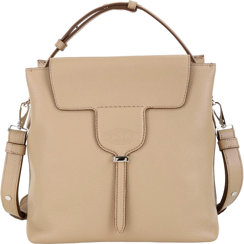 TOD'S New Joy Bag T釦翻蓋牛皮手提肩背包(卡其色)
