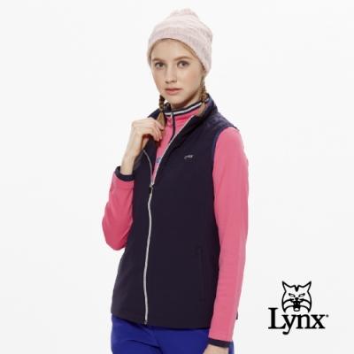 【Lynx Golf】女款3D立領反光印花無袖背心-深藍色
