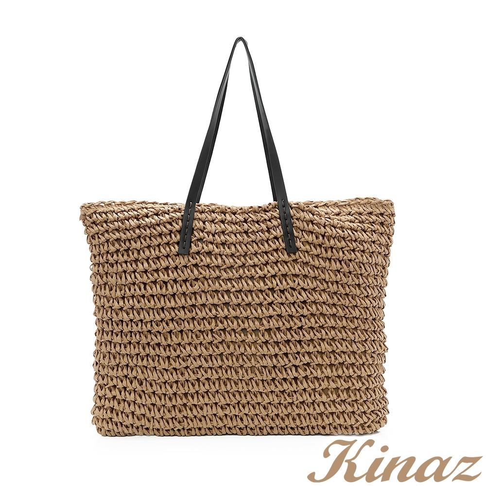 KINAZ 完美假期肩背草編托特包-棕梠咖-仲夏織夜系列