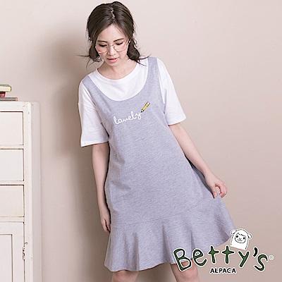 betty's貝蒂思 可愛Lovely鉛筆繪圖假兩件式洋裝(淺灰)
