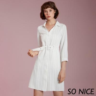 SO NICE俐落條紋襯衫式洋裝