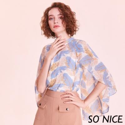 SO NICE浪漫熱帶印花造型袖雪紡上衣