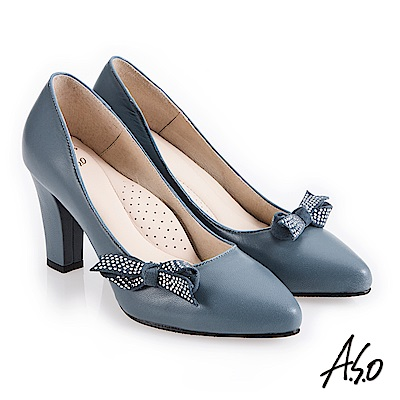 A.S.O 百變女伶 健步通勤蝴蝶裝飾高跟鞋 淺藍