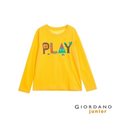 GIORDANO 童裝童趣塗鴉風印花長袖T恤-12 陽光黃