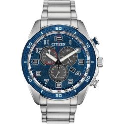 CITIZEN 星辰 Chronograph 光動能計時手錶-藍x銀/45mm
