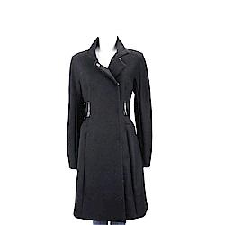Max Mara-SPORTMAX 羊皮腰封造型黑色混紡羊毛大衣