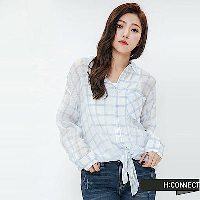 H:CONNECT 韓國品牌 女裝-綁結輕薄格紋襯衫-藍