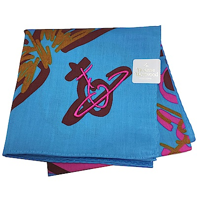 VIVIENNE WESTWOOD 品牌行星塗鴨LOGO行星刺繡帕領巾(寶藍色)