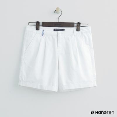 Hang Ten - 女裝 - 簡約純色反摺造型短褲 - 白