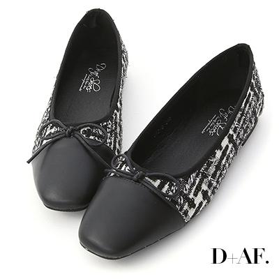 D+AF 甜漾歐風.毛呢料拼接芭蕾娃娃鞋*黑