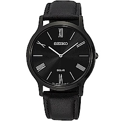 SEIKO 精工 SOLAR 太陽能日系超薄時尚手錶(SUP855P1)-黑x38mm