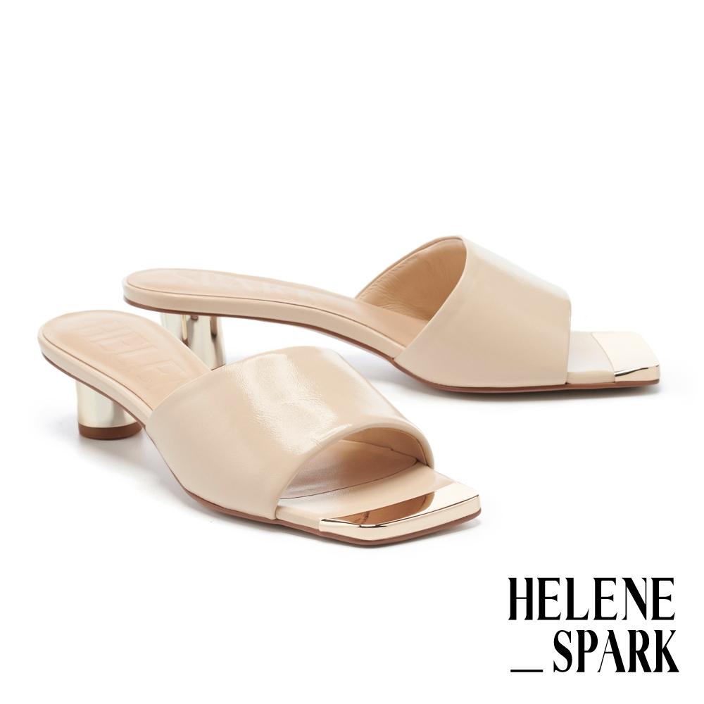 拖鞋 HELENE SPARK 現代經典摩登全羊皮方頭高跟拖鞋-米