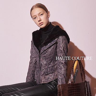 Haute Couture 高定系 小羊皮✕貂毛動物豹紋連帽騎士外套-高冷灰