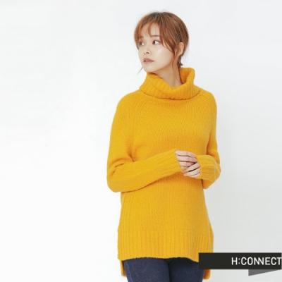 H:CONNECT 韓國品牌 女裝 -側開岔翻領針織毛衣-黃(快)