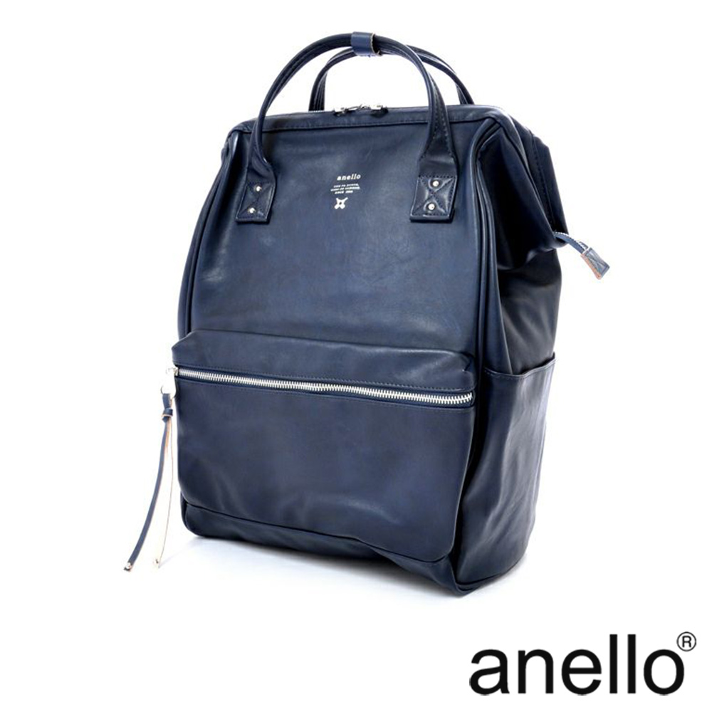 anello PREMIUM CLASP復古皮革色調 筆電後背包 深藍色 Large