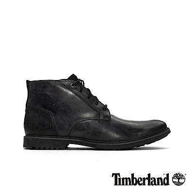 Timberland 男款黑色全粒面皮革防潑濺中筒商務休閒鞋|A1QDU