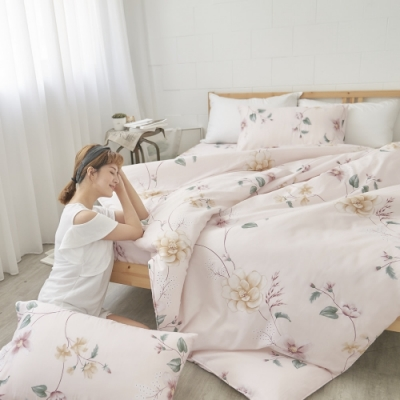 BUHO 天然嚴選純棉雙人加大三件式床包組(優韻晚香)