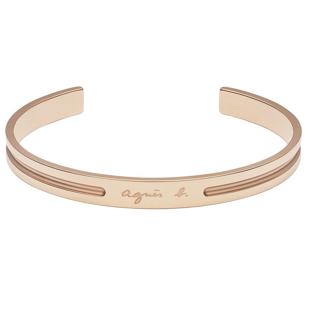 agnes b. 白鋼女性手環(玫瑰金)(情侶對環)