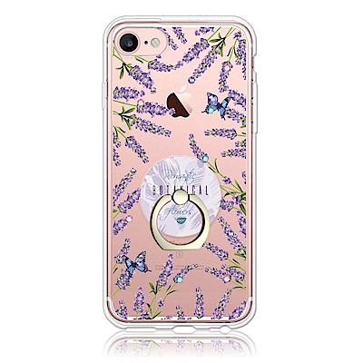 Corner4 iPhone SE(第二代/2020) / 8 / 7 / 6s / 6 4.7吋奧地利彩鑽指環扣雙料手機殼-薰衣草