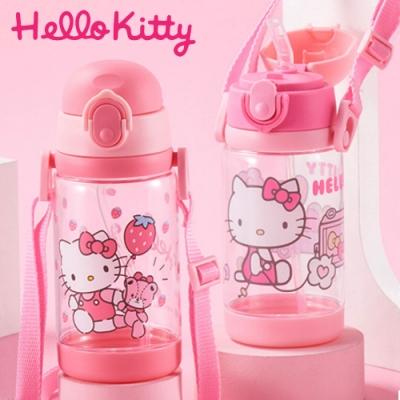 【優貝選】凱蒂貓 HELLO KITTY 兒童 吸管式/直飲式 兩用背帶水壺