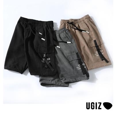 UGIZ男裝-時尚潮流百搭簡約口袋撞色鬆緊繫繩造型五分褲-3色(M-2XL)
