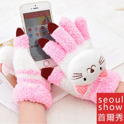 Seoul Show首爾秀 卡通動物防寒保暖毛巾布觸控手套 貓咪