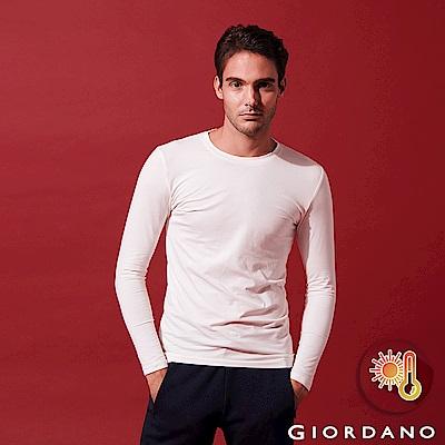 GIORDANO 男裝Beau-warmer plus+彈力圓領極暖衣-02 白色