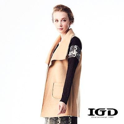 IGD英格麗 率性麂皮不收邊翻領背心外套-卡其