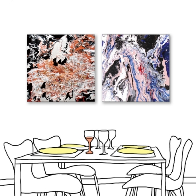 24mama掛畫-二聯式 對比色彩 藝術抽象 油畫風無框畫 50X50cm-沉默的流動