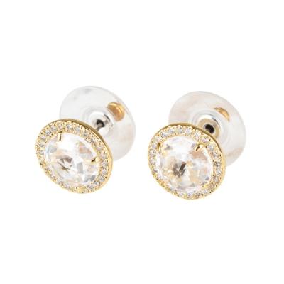 kate spade Bright Idea圓形設計鑽鑲飾穿式耳環(金x白)