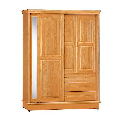 綠活居 波利略時尚5.2尺實木推門衣櫃(三抽屜+穿衣鏡)-155x62x206cm-免組