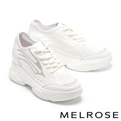 休閒鞋 MELROSE 率性時尚流線金蔥異材質厚底休閒鞋-白