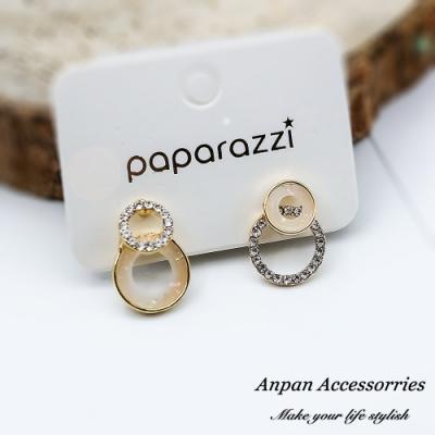 【ANPAN愛扮】韓東大門彩色百搭鑽石水晶圓球不對稱925銀針耳釘式耳環