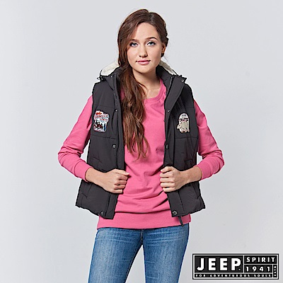 JEEP 女裝 美式風格造型連帽背心 -黑色