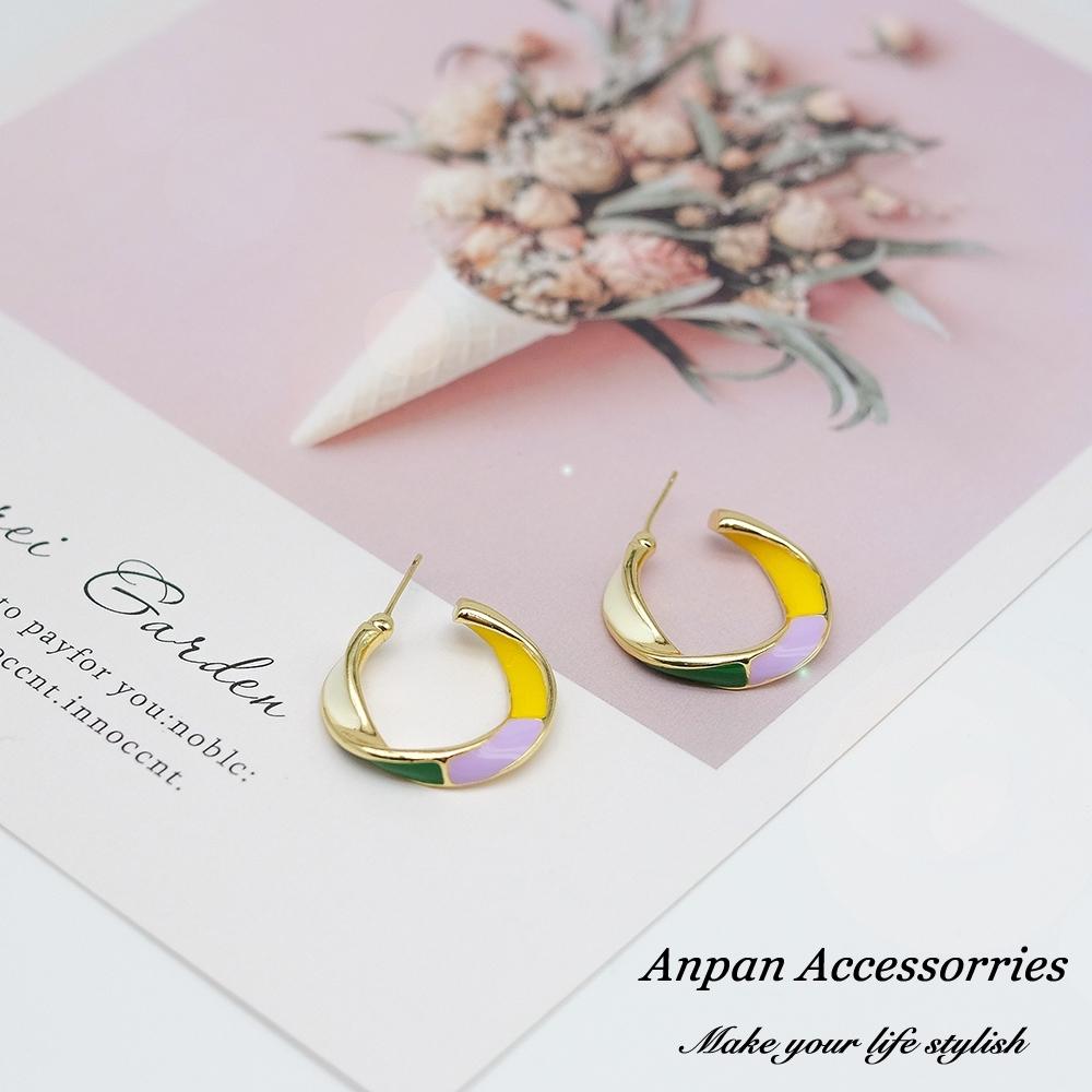 【ANPAN愛扮】925銀針韓東大門泫雅少女粉彩圓圈耳環(兩色可選)