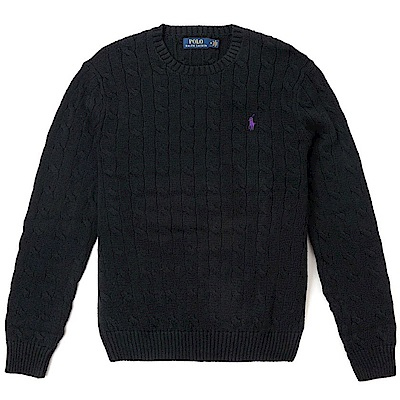 Polo Ralph Lauren 經典刺繡小馬圓領麻花針織毛衣-黑色