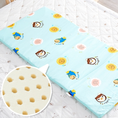 奶油獅 同樂會系列-100%精梳純棉布套+馬來西亞天然乳膠嬰兒床墊-湖水藍60X120cm