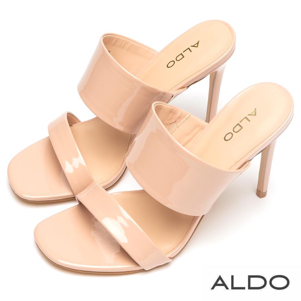 ALDO 原色寬窄相間一字鏤空細高跟涼拖鞋~氣質裸色