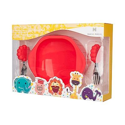【MARCUS&MARCUS】動物樂園寶寶握握學習禮盒組-獅子(紅)