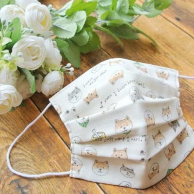 TEMARIYA 日本製 可水洗手作立體口罩M(被柴犬環繞)-白
