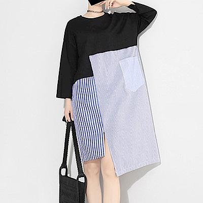 多片交錯拼接衛衣襯衫連裙-(共二色)Andstyle