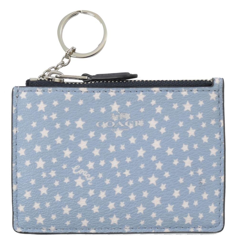 COACH 燙印LOGO星星PVC方型零錢鎖包(淡藍) @ Y!購物