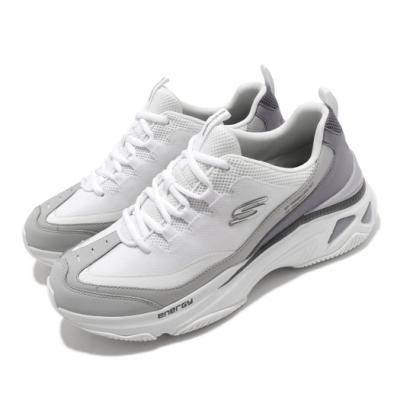 Skechers 休閒鞋 Energy Racer 老爹鞋 男鞋 增高 厚底 異材質拼接 耐磨 白 灰 237131WGY