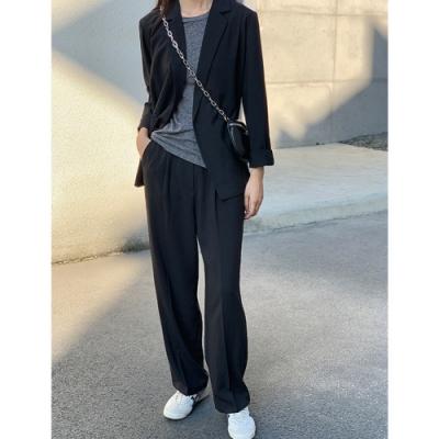 THG 韓版chic網紅垂感寬鬆休閒小個子西裝外套-卡其