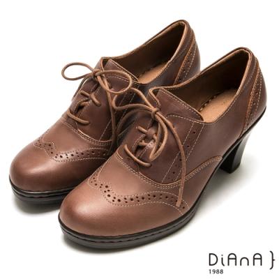 DIANA 跳色車線沖孔綁帶牛津跟鞋-英倫風情-焦糖棕