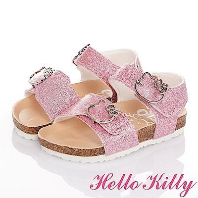 (雙11)HelloKitty 金蔥輕便減壓吸震腳床型童涼鞋-粉