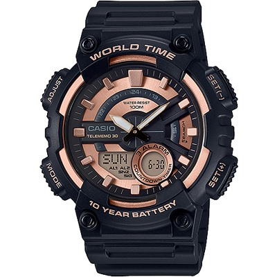 CASIO 10年電力指針數位雙顯錶款-黑X玫瑰金(AEQ-110W-1A3)/46mm