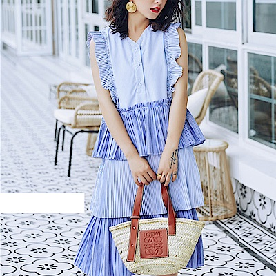 荷葉皺褶糕裙條紋花袖洋裝-(藍色)Andstyle